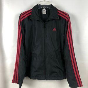 Adidas red three stripe light full zip jacket